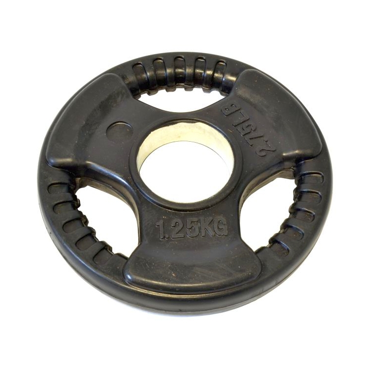 1 25kg Olympic Tri Grip Rubber Coated Weight Plate Gym