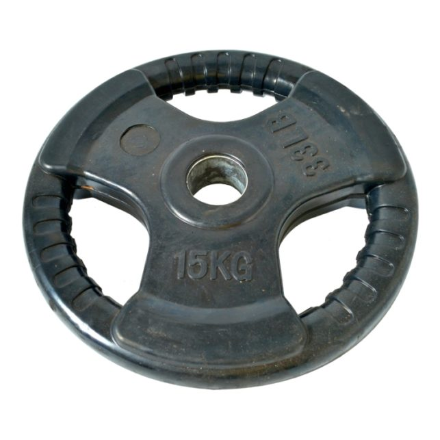 15kg Olympic Tri Grip Rubber Coated Weight Plate Gym
